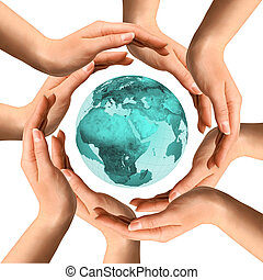 Hands Surrounding the Earth - Conceptual symbol of the...