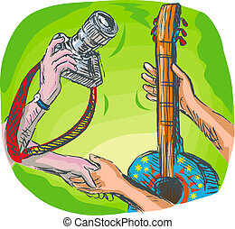 full color hand sketched drawing illustration showing two hands swapping DSLR camera or photography shoot with guitar or guitar lessons