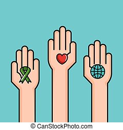 hands symbol peace world love ribbon