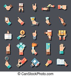 Hands Symbols Accessories Icons Set Flat Design Concept Template on Stylish Background Vector Illustration