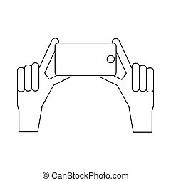 Hands taking pictures on phones icon