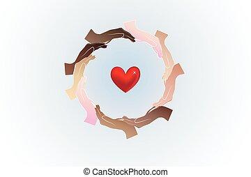 Hands teamwork and heart logo