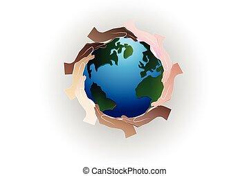 Hands teamwork logo around earth