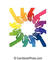 Hands teamwork people logo
