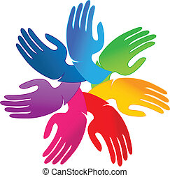 Hands teamwork people logo