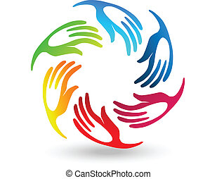 Hands teamwork union stylized logo