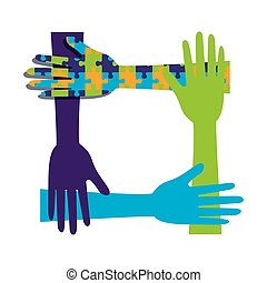 hands teamwork with puzzle solution