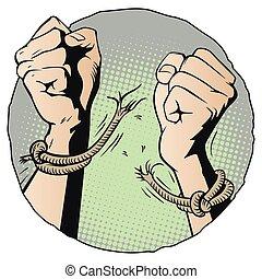 Hands tearing shackles. Stock illustration. - Stock...
