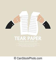 Hands Tears Paper Vector Illustration