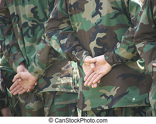 Hands That Protect - Soldiers at parade rest.