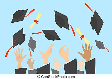 Hands throwing graduation caps and diploma in the air