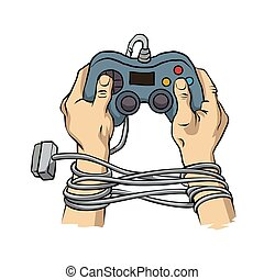 Hands tied by wire game controller. Game dependence concept.