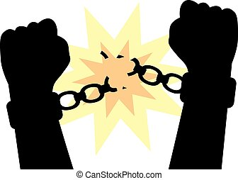 hands to break the shackles - hands clenched into fists to...