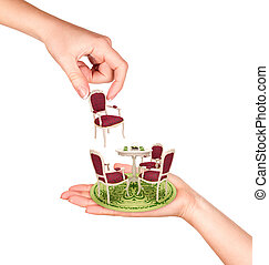 hands to create an interior designer on a white background