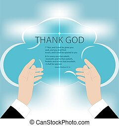Hands to God - Vector drawing of hands rising to God, on a...