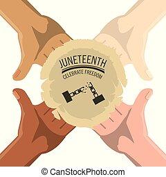 hands togeter with juneteenth celebrate freedom emblem