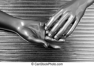 hands together futuristic robot silver steel