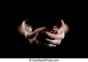 Hands together holding nothing