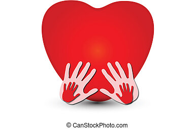 Hands together with a heart logo