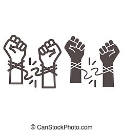 Hands tore the rope line and solid icon, life without addiction concept, anti drug, alcohol, smoking sign on white background, stop bad habits icon in outline style for web design. Vector graphics.