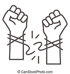 Hands tore the rope thin line icon, life without addiction concept, anti drug, alcohol, smoking sign on white background, stop bad habits icon in outline style for web design. Vector graphics.