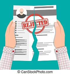 Hands torn in half cv profile. Rejected resume concept....