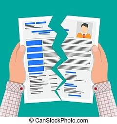 Hands torn in half cv profile. Rejected resume