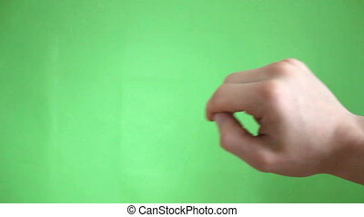 hands touch gestures green screen