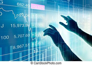 hands touching virtual screen on market data stock market