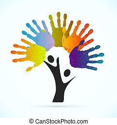 Hands Tree - Hands tree vector concept illustration