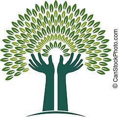 Hands Tree of Faith logo. Vector graphic illustration