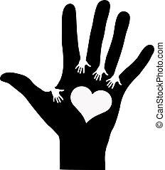 hands treffend, anderen, elke