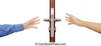 Hands trying reaching to grab door