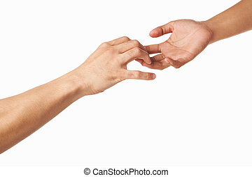 Hands trying to grab each other or seperate, isolated on...