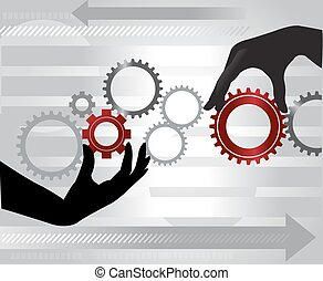 Hands turning gears, illustration - Hands turning gears,...