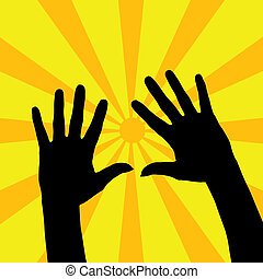 Hands - Two open hands silhouette with yellow rays...
