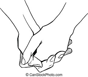 Two persons are holding hands each other