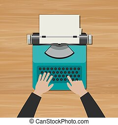Hands typing an article