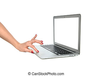 Hands typing on keyboard computer laptop with blank white space
