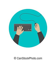 Hands typing on keyboard. - Hands typing on keyboard...