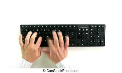 hands typing on keyboard top view