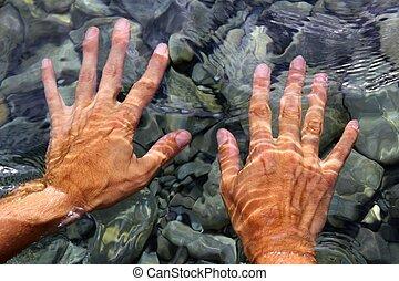 hands underwater river water wavy shapes - hands underwater...