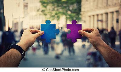 hands unite puzzle jigsaw pieces