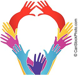 Hands unity heart love shape logo vector image