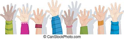 Hands Up Background - Cropped Background Illustration...