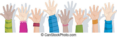 Hands Up Background - Cropped Background Illustration ...