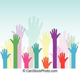 hands up background - Illustration of hands up background...