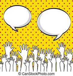 hands up over dotted background vector illustration