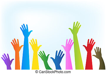 Hands up colorful logo vector design image template