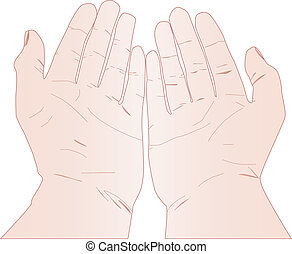 Hands up on white background